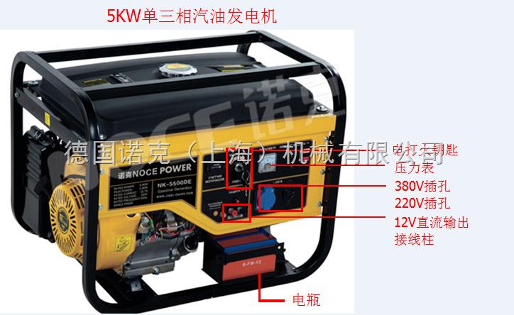5kw三相电汽油发电机尺寸