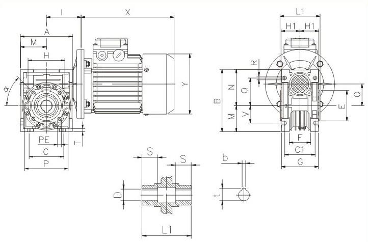 蜗轮蜗杆减速机特点: 1,机械结构紧凑,体积外形轻巧,小型高效; 2,热