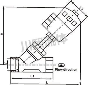 气动调节角座阀尺寸图