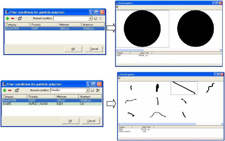 文本框:  图7.功能 2:特定形状的颗粒的筛选和分析
